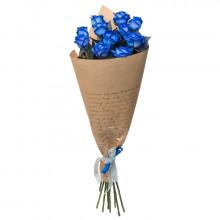 11 синих роз в крафте