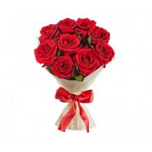 Букет из 9 красных роз в фетре