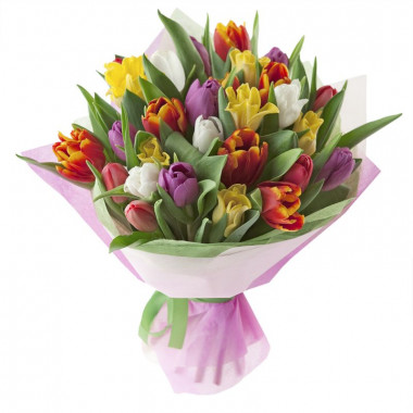 Букет из 21 тюльпана в фетре