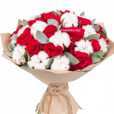 Букет из роз и хлопка №4
